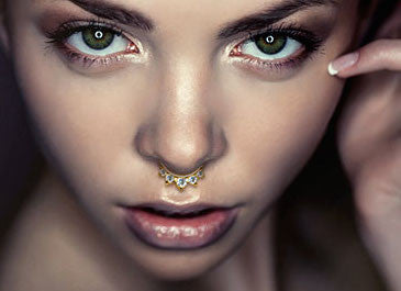 14Kt Solid Yellow Gold - Five CZ Gem Septum Clicker