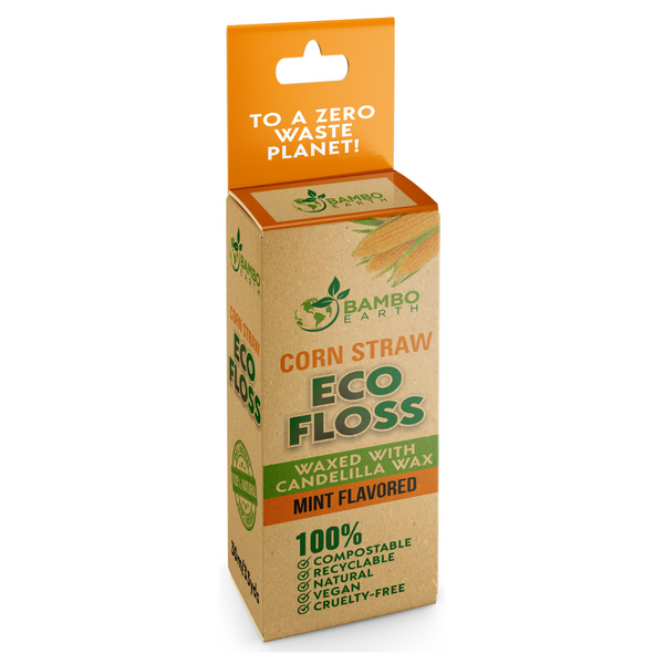 Eco Dental Corn Floss With Glass Jar Container