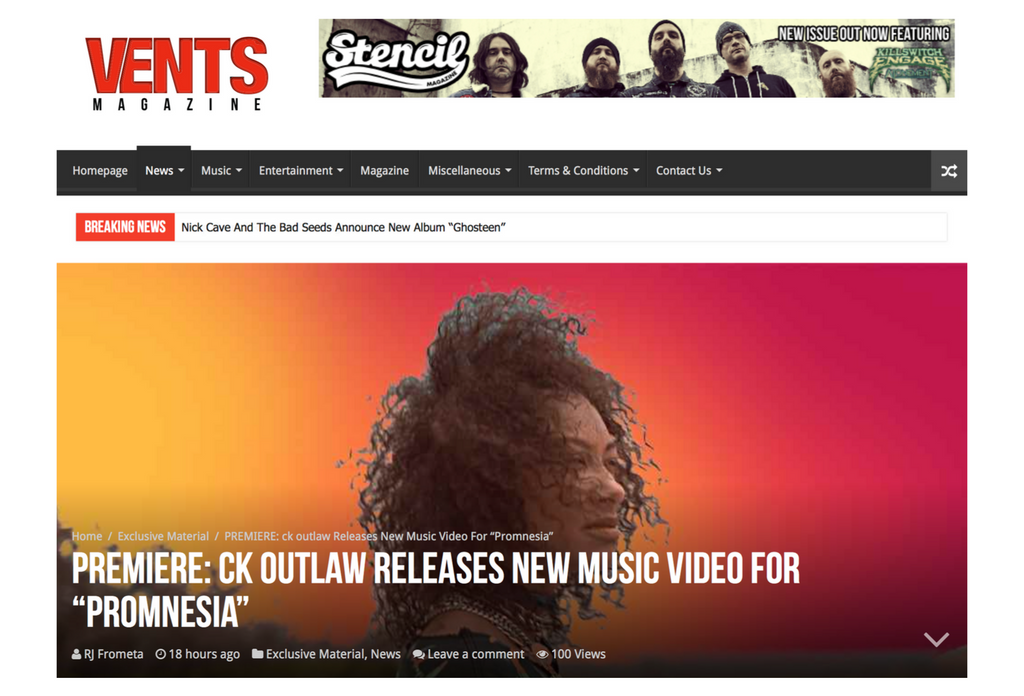 "FEATURES: VENTS MAGAZINE - PREMIERE: ck outlaw Releases New Music Video For ""Promnesia"""