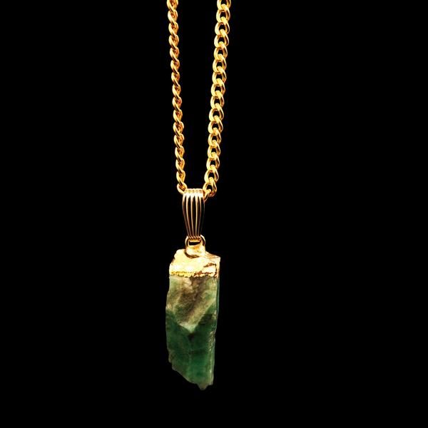 Aether 79 Emerald pendant on gold curb chain