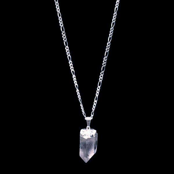 Clear Quartz Point on Silver Sterling Figaro