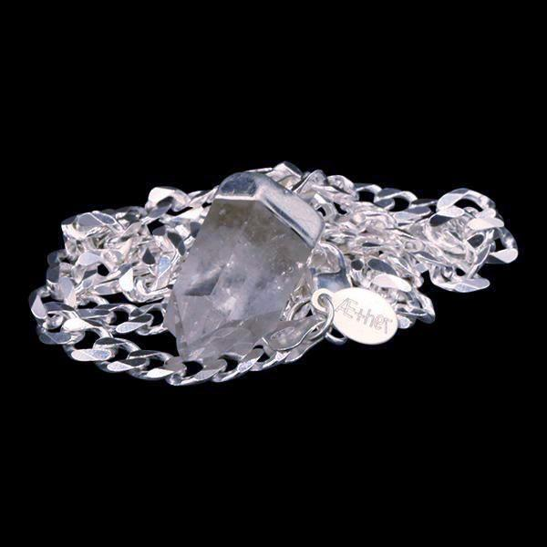 Clear Quartz Point on Sterling Silver Beveled Curb