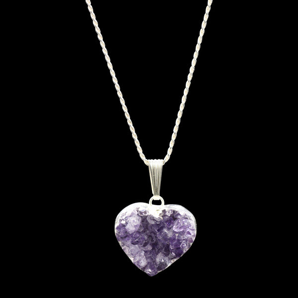 Amethyst Druzy Heart on Rope