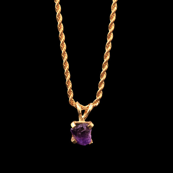 2.7 CARAT NATURAL UNTREATED BRAZILIAN AMETHYST GEM SOLITAIRE ON 14K ROPE