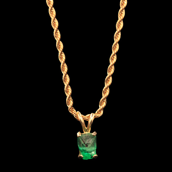 2.35 CARAT NATURAL UNTREATED COLOMBIAN EMERALD GEM ON 14K ROPE