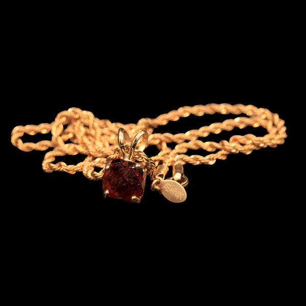3.65 CARAT NATURALLY ETCHED UNTREATED BRAZILIAN SPESSARTINE GARNET GEM SOLITAIRE ON 14K ROPE