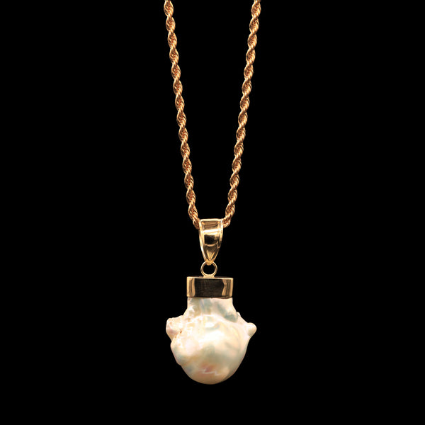 43.4 CARAT FRESHWATER BAROQUE PEARL ON 14K ROPE