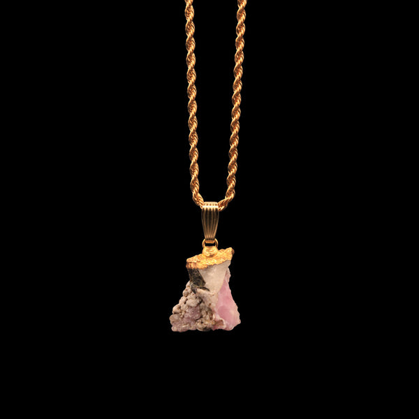 Rose Quartz Cluster on Rope