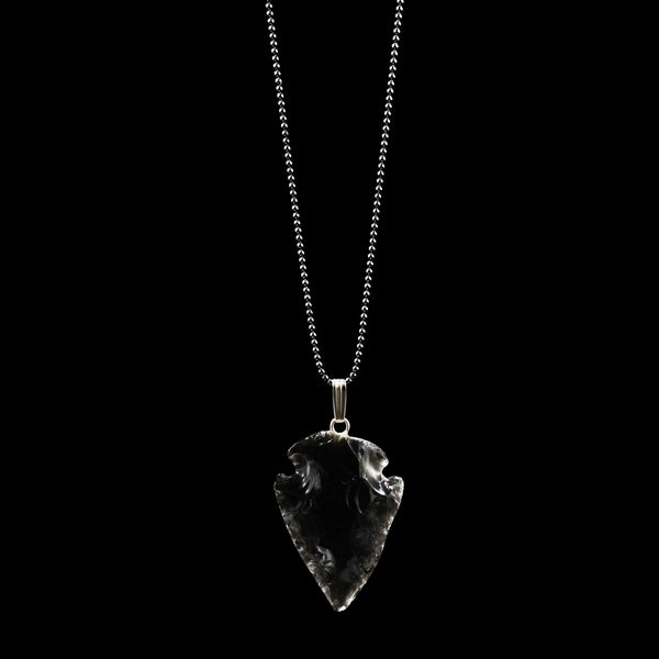 Black Obsidian Arrowhead on Black Oxidized Sterling Silver Bead
