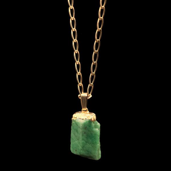 Raw Emerald on Elongated Curb