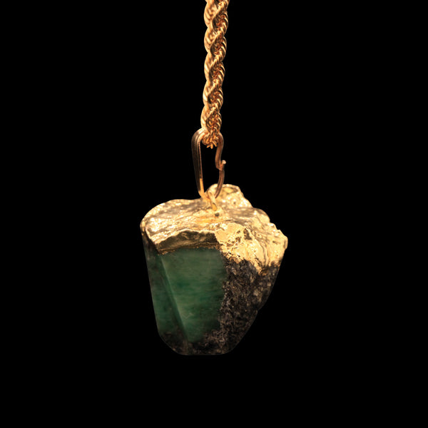 Raw Emerald Matrix on Rope
