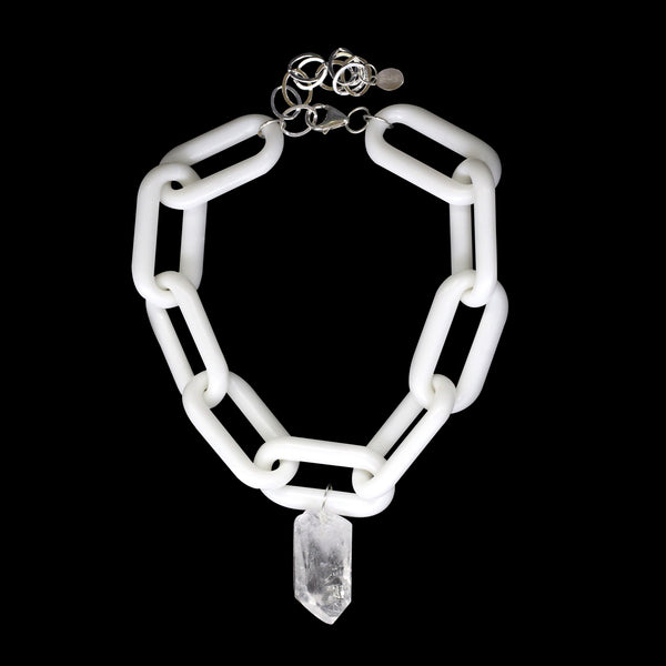 Raw Quartz Point White Link Choker
