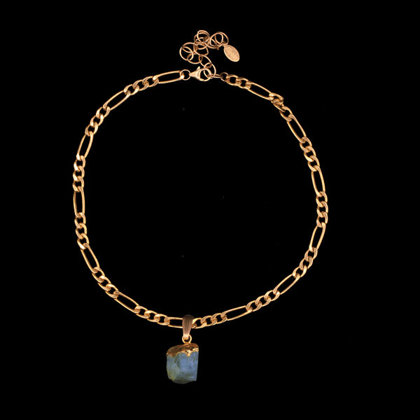 Raw Aquamarine on Figaro Choker