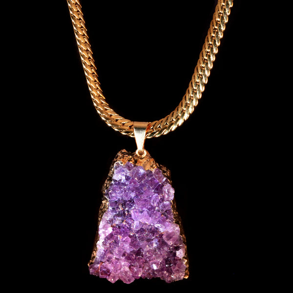 Amethyst Druzy on Herringbone