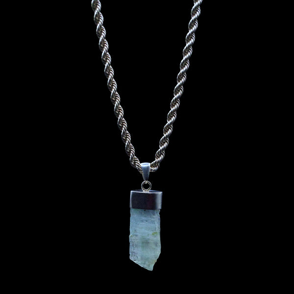Raw Aquamarine Blade on Sterling Silver Figaro