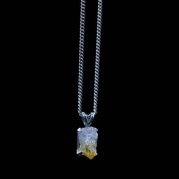 Raw Citrine on Sterling Silver Rope