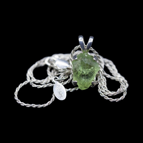 Raw Peridot Solitaire on Sterling Silver Rope