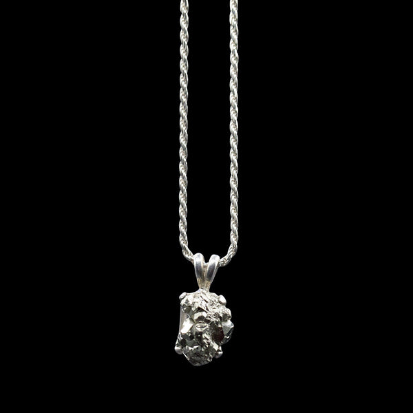 Raw Pyrite Solitaire on Sterling Silver Rope