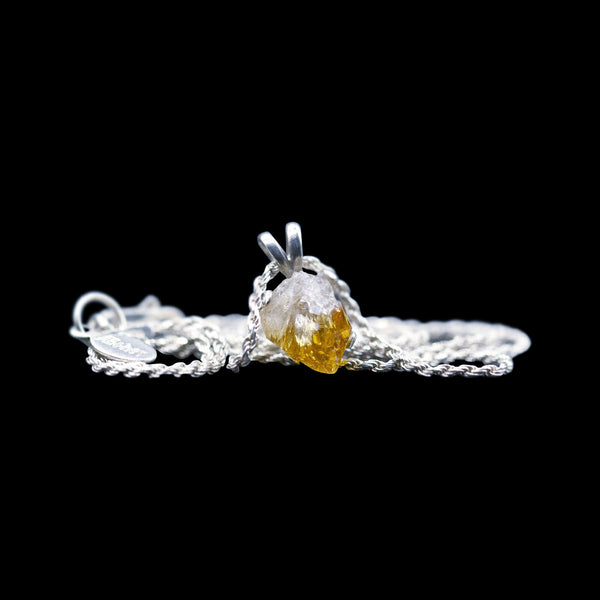 Raw Citrine Solitaire on Sterling Silver Rope