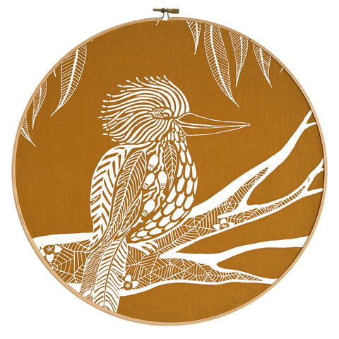 Kookaburra screen print emboridery hoop - various colours - FREE SHIPPING within Australia
