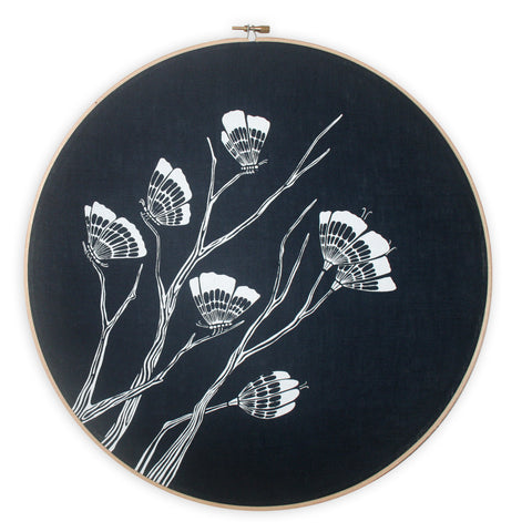 Butterflies screen print emboridery hoop - various colours availbale - FREE SHIPPING within Australia