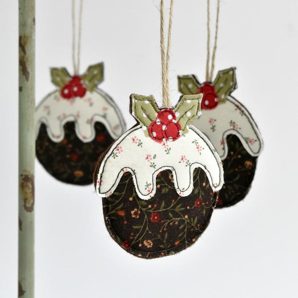 Sewn fabric Christmas pudding decoration handmade by Stitch Galore