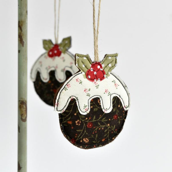 Fabric Christmas pudding tree decoration handmade by Stitch Galore