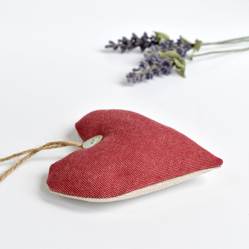 Red heart lavender bag, lavender heart scented sachets handmade by Stitch Galore