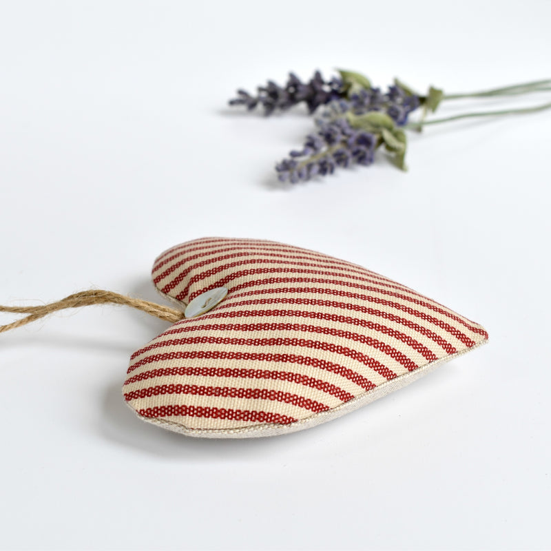 Heart lavender bag, lavender heart scented sachets, handmade with red striped fabric by Stitch Galore