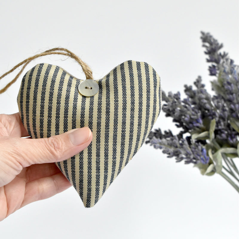 Heart lavender bag, lavender heart scented sachets, handmade with blue striped fabric by Stitch Galore