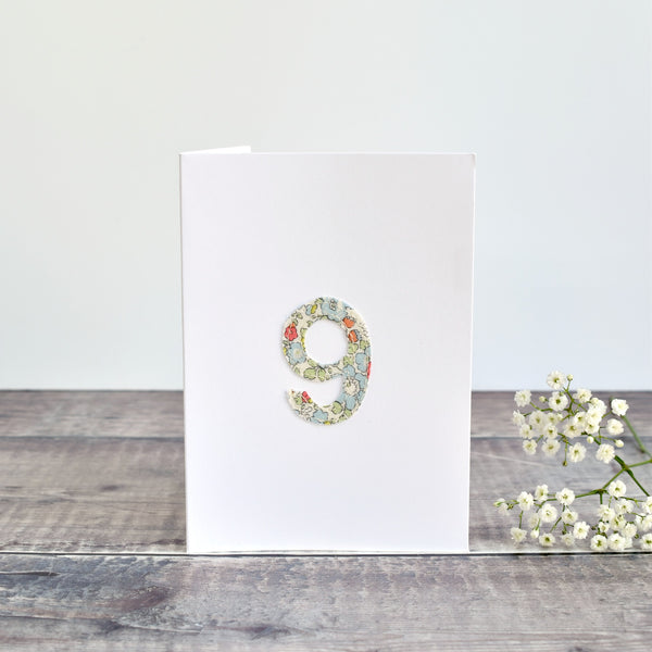 9th Birthday card, 9th Anniversary card sewn card with Liberty fabric h