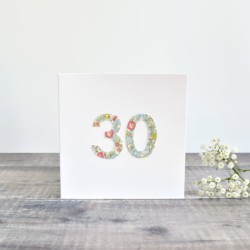 30th Birthday card, 30th Anniversary card sewn card with Liberty fabric handmade by Stitch Galore