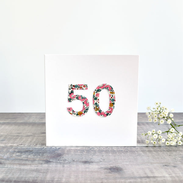 50th Birthday card, 50th Anniversary card sewn card with Liberty fabric handmade by Stitch Galore