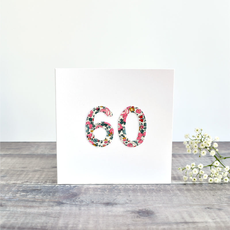 60th Birthday card, 60th Anniversary card sewn card with Liberty fabric handmade by Stitch Galore