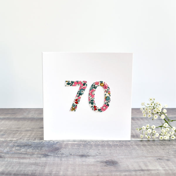 70th Birthday card, Age 70 card, sewn card with Liberty fabric handmade by Stitch Galore