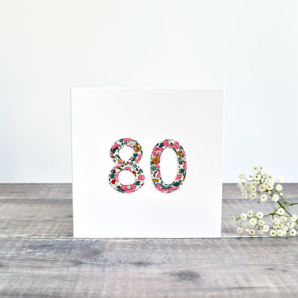 80th Birthday card, Age 80 card, sewn card with Liberty fabric handmade by Stitch Galore