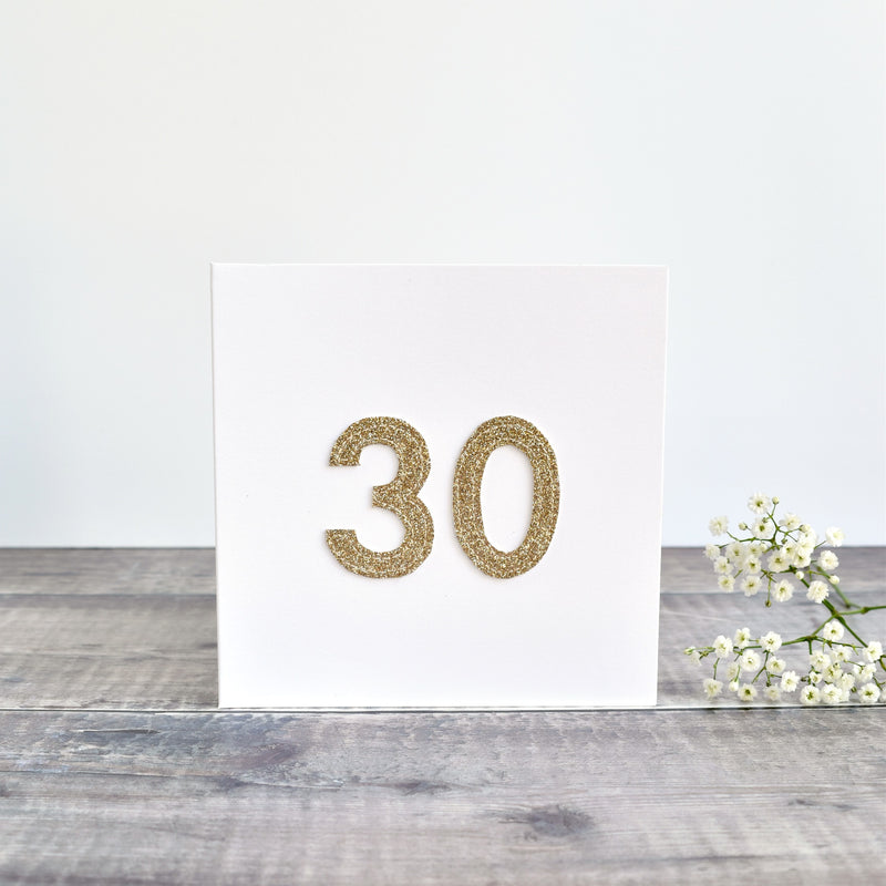 30th Birthday card, 30th Anniversary card sewn card with gold glitter fabric handmade by Stitch Galore