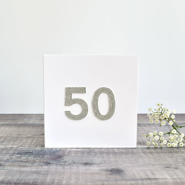 50th Birthday card, 50th Anniversary card sewn card with silver glitter fabric handmade by Stitch Galore