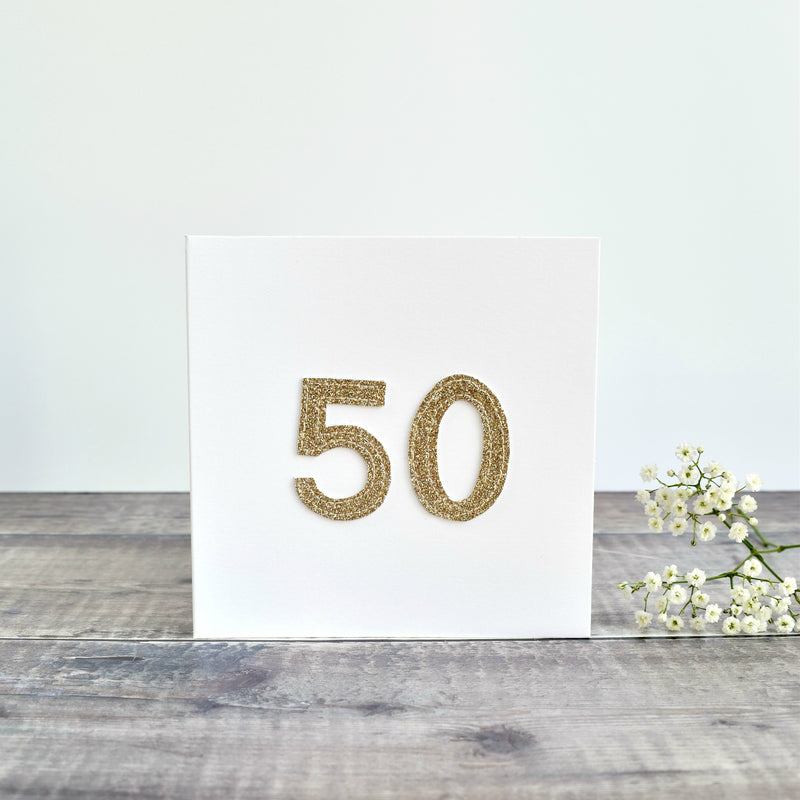 50th Birthday card, 50th Anniversary card sewn card with gold glitter fabric handmade by Stitch Galore