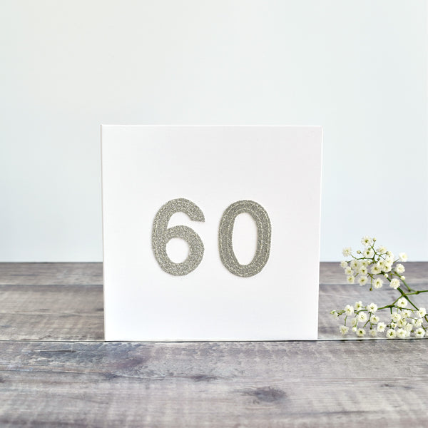 60th Birthday card, 60th Anniversary card sewn card with silver glitter fabric handmade by Stitch Galore