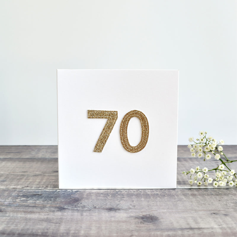 70th Birthday card, Age 70 card, sewn card with gold glitter fabric handmade by Stitch Galore