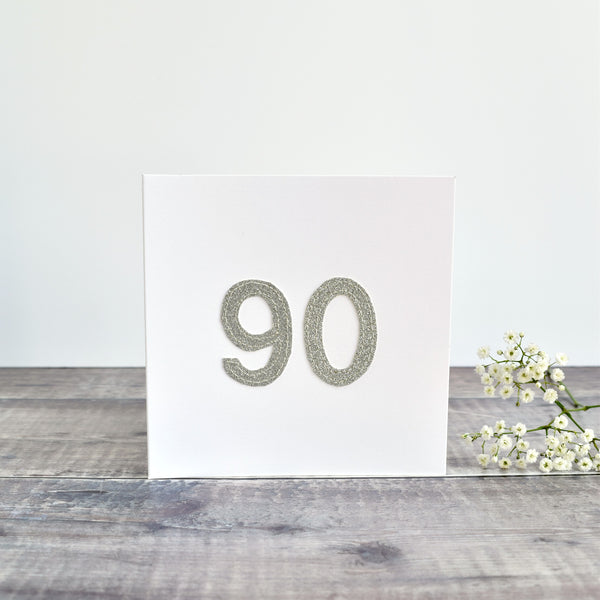 90th Birthday card, Age 90 card, sewn card with silver glitter fabric handmade by Stitch Galore