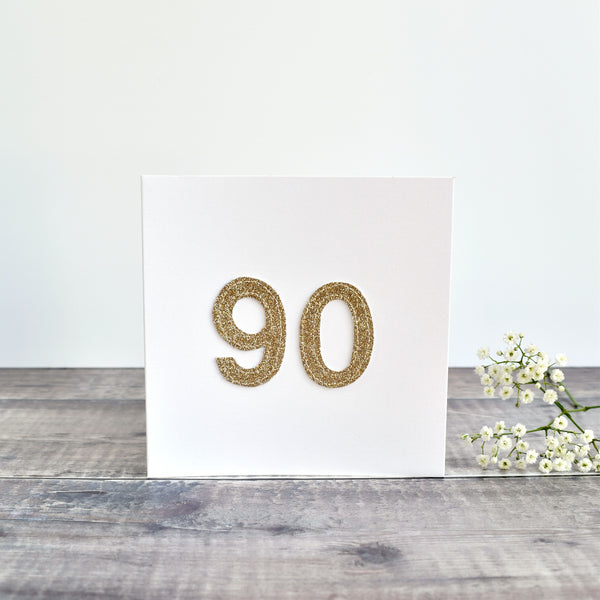 90th Birthday card, Age 90 card, sewn card with gold glitter fabric handmade by Stitch Galore