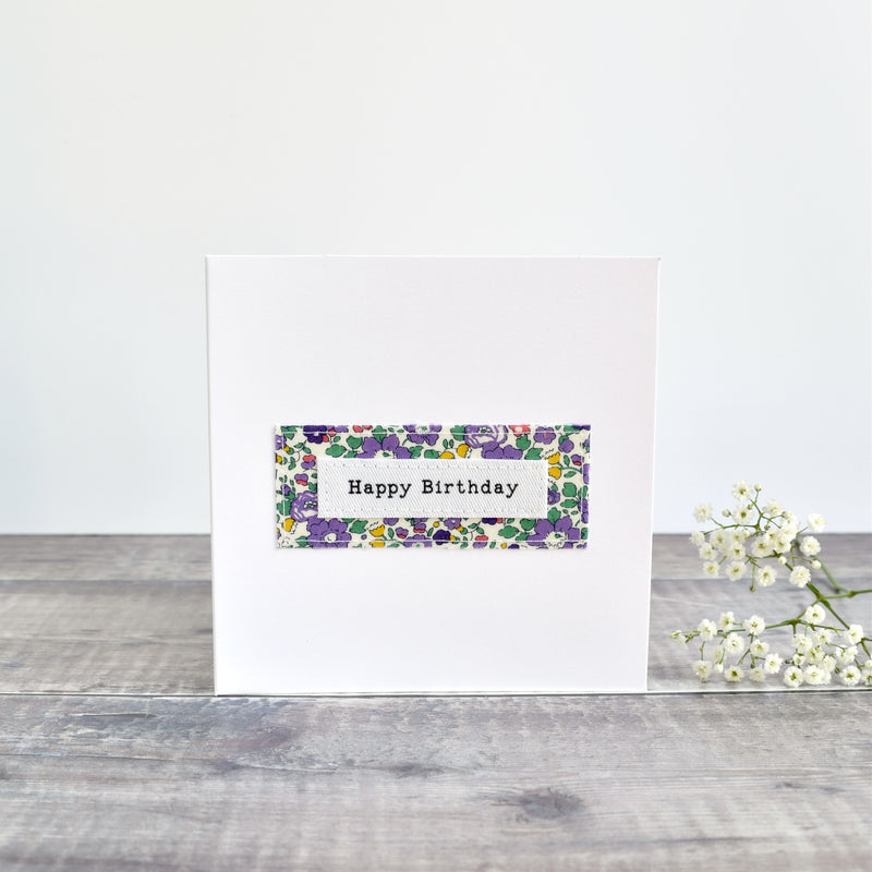 Happy Birthday card, stitched card with purple Liberty fabric handmade by Stitch Galore