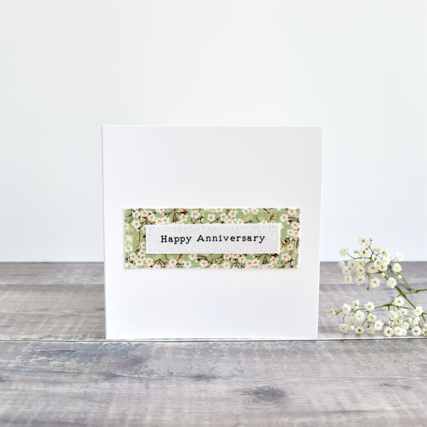 Happy Anniversary card, stitched card with green floral fabric handmade by Stitch Galore