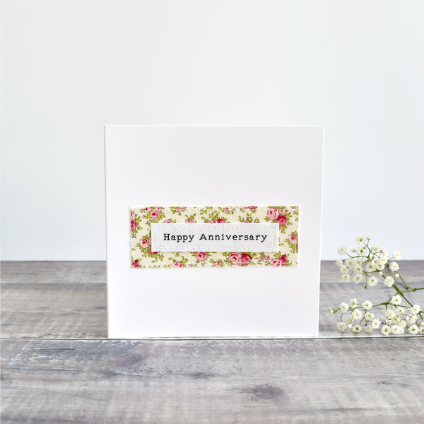 Happy Anniversary card, stitched card with pink floral fabric handmade by Stitch Galore