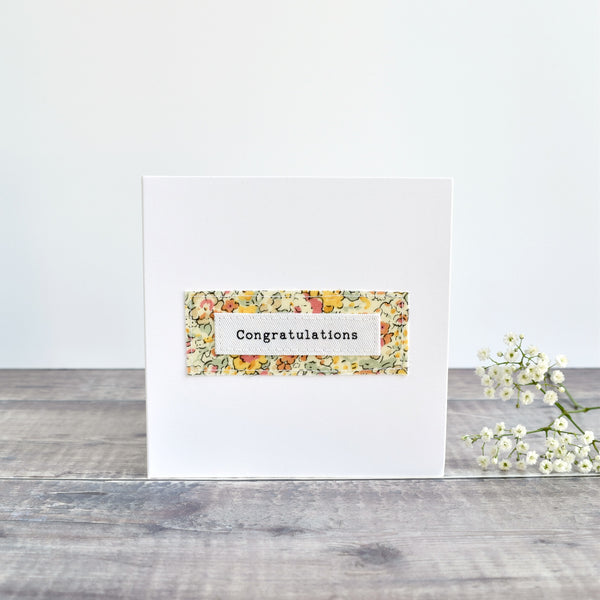 Congratulations card, stitched card with yellow floral fabric handmade by Stitch Galore