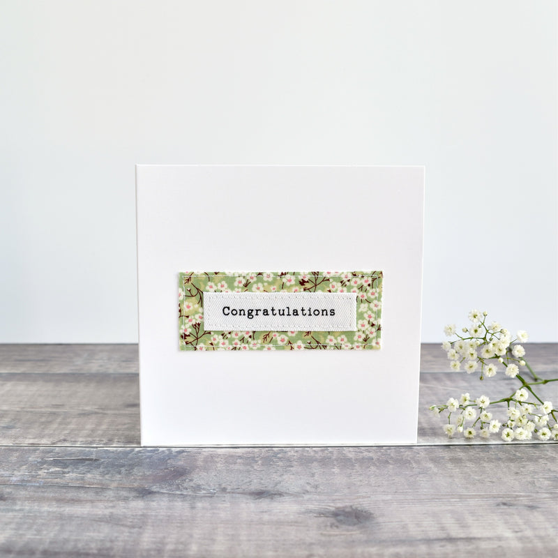 Congratulations card, stitched card with green floral fabric handmade by Stitch Galore