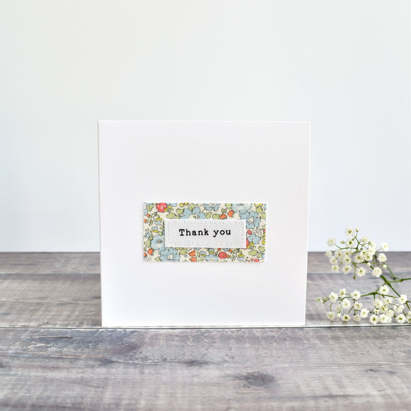 Thank You card, stitched card with blue floral fabric handmade by Stitch Galore