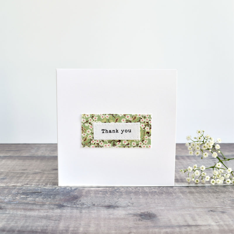 Thank You card, stitched card with green floral fabric handmade by Stitch Galore